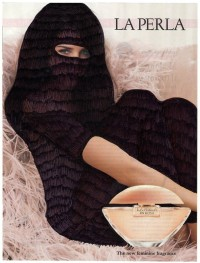 "BEAUTIFUL AS YOU ARE ink on magazine advertisement by Sharifa Dot (Tunisia) for WU+S (wakeupandsleep.org). The advertising pages of magazines, promoting beauty products or accessories to enhance the feminine aesthetic. These, for Sharifa Dot, are the ""Burka"" that make women segregated in all latitudes of the world."