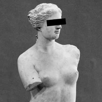 "REVIEWS touch-up on museum photos or installation carton steel on marble and plaster by Orion Kostas Xylouris (Greece) for WU+S (wakeupandsleep.org). ""Pictures of nude models. Eyes cleared to censor the identity. Because the nude is scandalous!"" O.K. Xylouris."