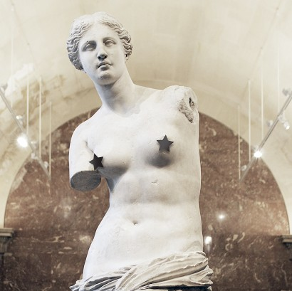 VENUXXX touch-up on museum photos or installation carton steel on marble and plaster by Orion Kostas Xylouris (Greece) for WU+S (wakeupandsleep.org). Real-size replica of the Venus of Milo. Nipples are censored from the classic little stars of the posters of b-movie sex films. An object classic symbol of beauty becomes subject rough and itchy, to highlight the absurdity of the censor act.