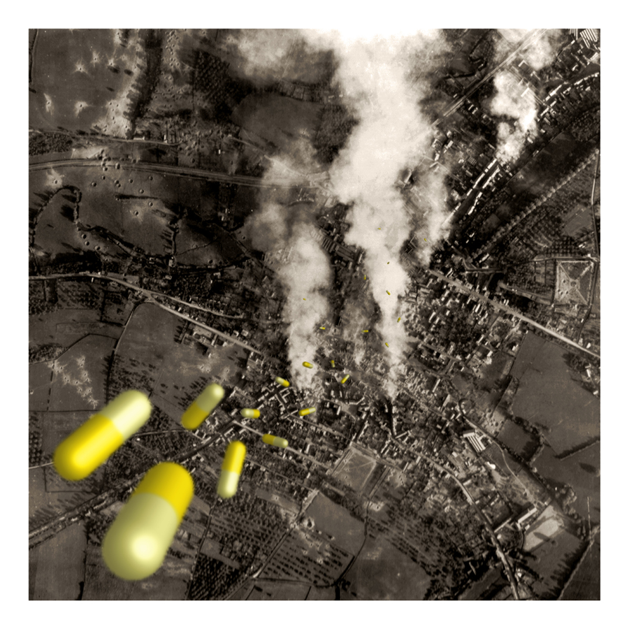 SEVEN DAYS OF FALLING  3D and touch-up on WWII images by George Paul Salle (France-USA) for WU+S (wakeupandsleep.org). Capsule pills bombing on territory.